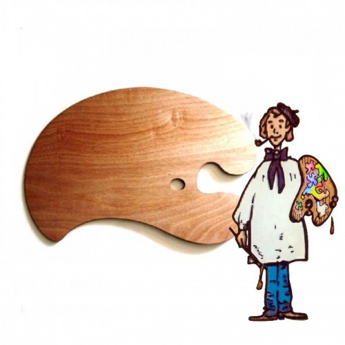 Paleta madera aceitada con contrapeso, 67x46 cm aprox.