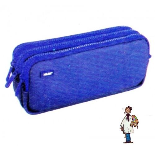 Portatodo 3 cremalleras Matt Touch 2 azul