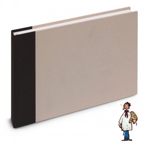 Cuaderno de viaje A5 cosido 180gr 60h dessin à grain - gris