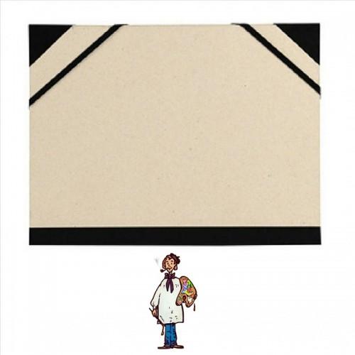 Carpeta para dibujo 33x26cmCartón gris con goma y cantoneras.
