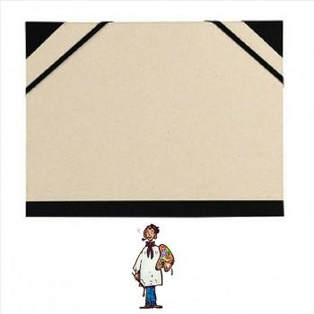 Carpeta para dibujo 72x52cm Cartón gris con goma y cantoneras.