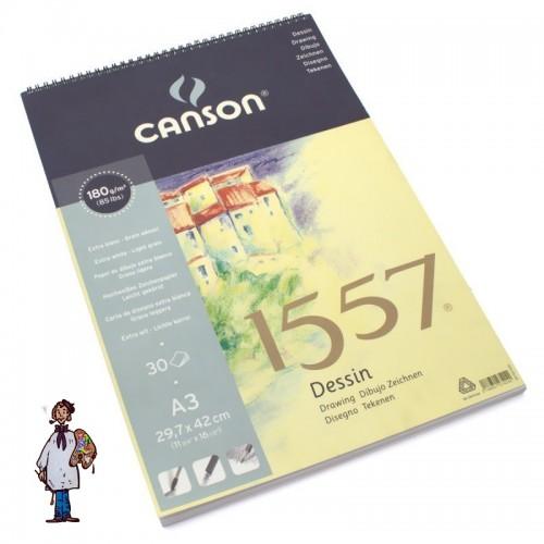 Bloc espiral Canson 1557 Dessin 180gr A3