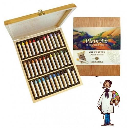 """Caja madera 36 pasteles al óleo """"Plein Air"""" Sennelier (paisaje)"""