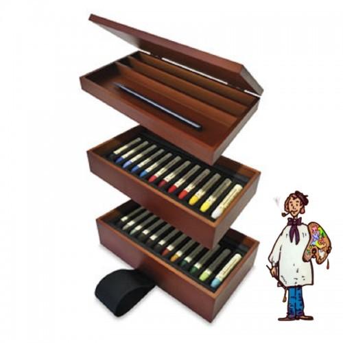 Caja madera pastel al óleo Sennelier 24 barras + lápiz grafito