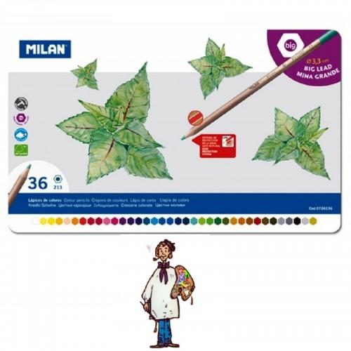 Caja metálica 36 lápices color MILAN