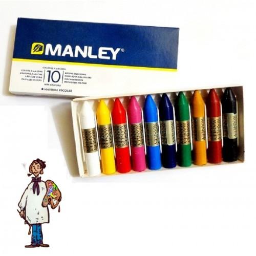 Ceras Manley caja cartón 10 colores
