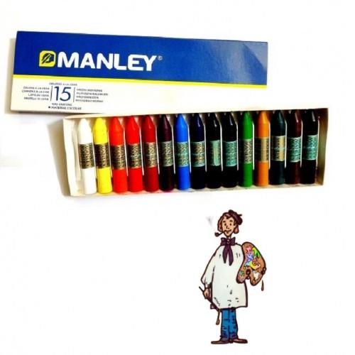 Ceras Manley caja cartón 15 colores