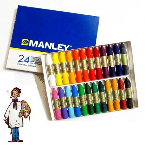 Ceras Manley caja cartón 24 colores