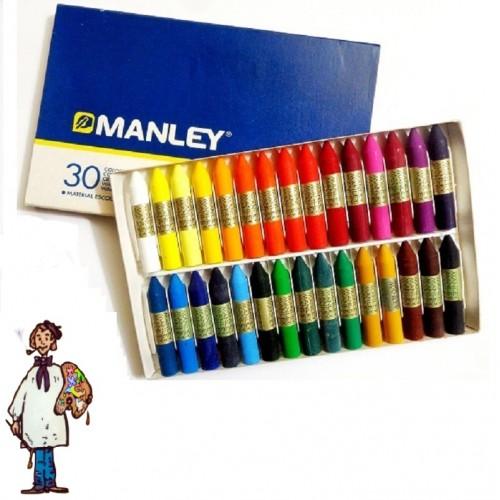 Ceras Manley caja cartón 30 colores