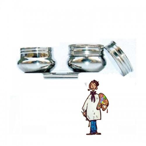 Aceitera metalica pocillo doble con pinza y tapa