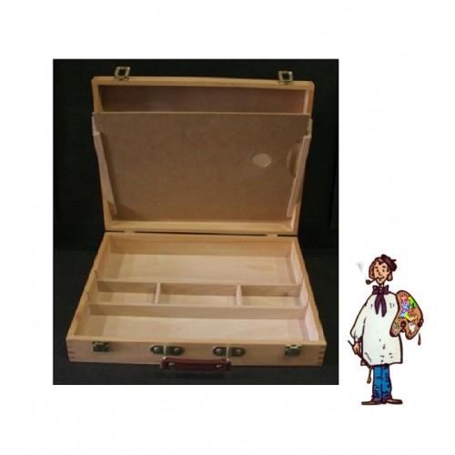 Caja maletín madera con paleta.42 X 33 X 8.5