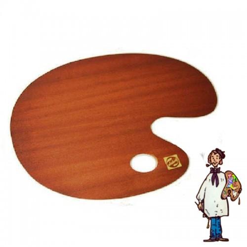 Paleta ovalada de  madera barnizada 29x37cm